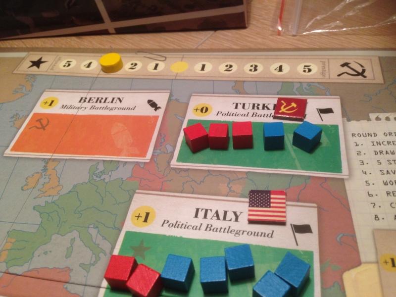 USA sin hemmelige agenda er Italia som gir 4 poeng, mens USSR sin hemmelige agenda er Tyrkia som kun gir et prestisjepoeng. Dermed leder USA med 3 prestisje.